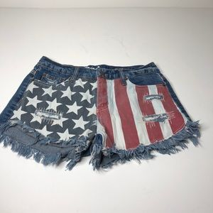 Mossimo high rise  flag fringe jean shorts 4/27